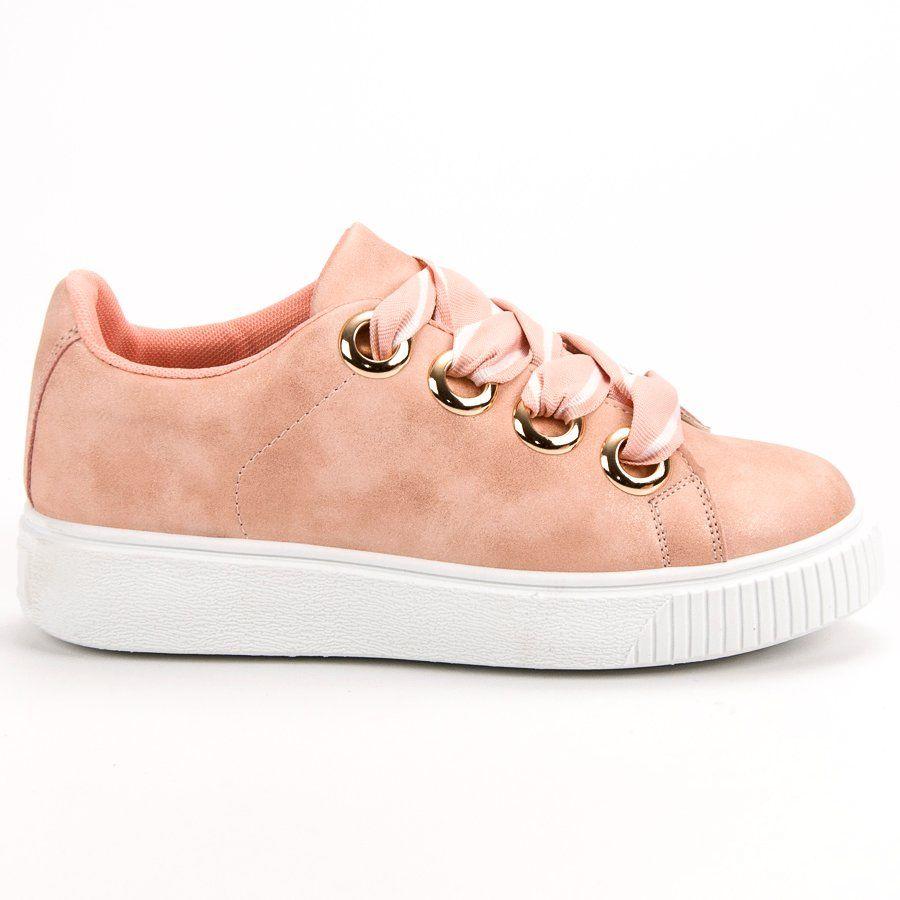 Obuwie Sportowe Z Brokatem Rozowe Casual Shoes Shoes Sneakers
