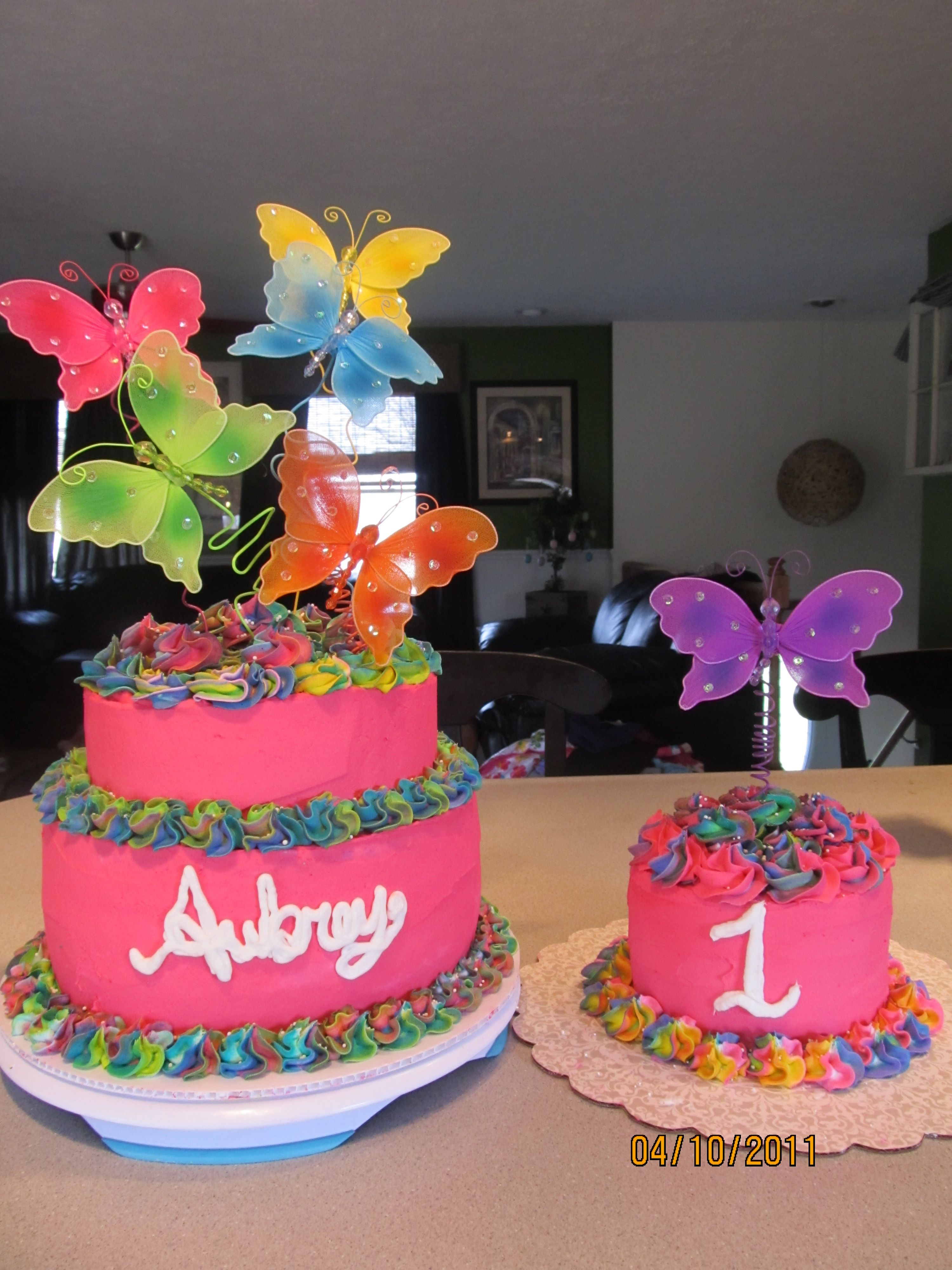 Girl's first birthday butterfly cake with tye