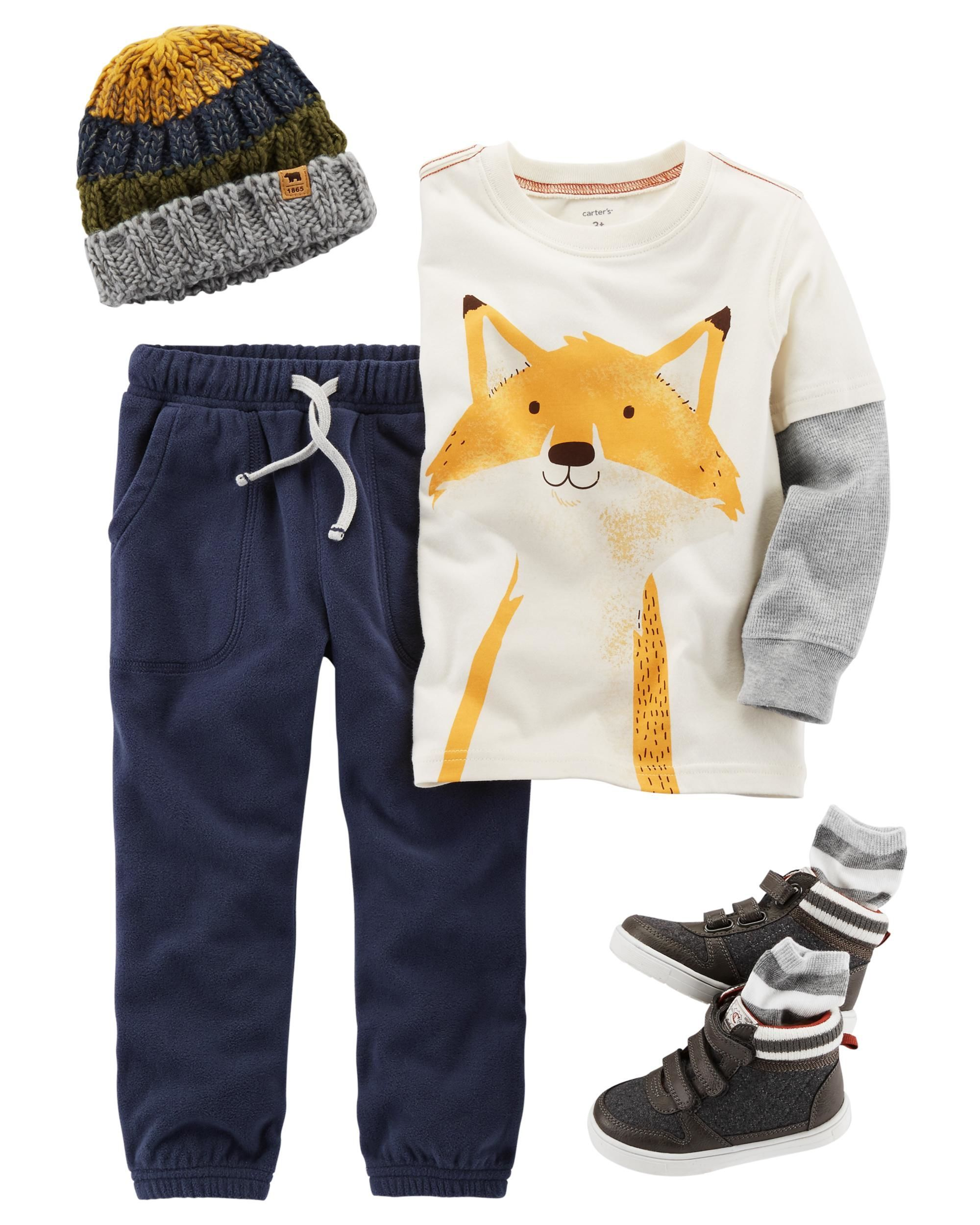 f0825e5793 The double-decker fox tee pairs with pull-on joggers for a cute and comfy  look. Add a pair of high-top sneakers and a coordinating knit hat to  complete this ...