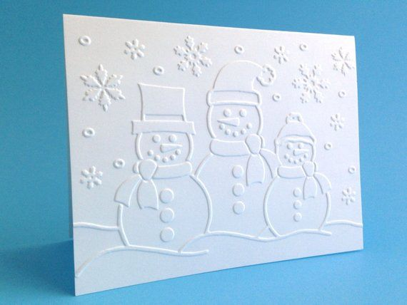 Boxed Christmas Cards - Embossed Snowman Card Set of 8 - Embossed