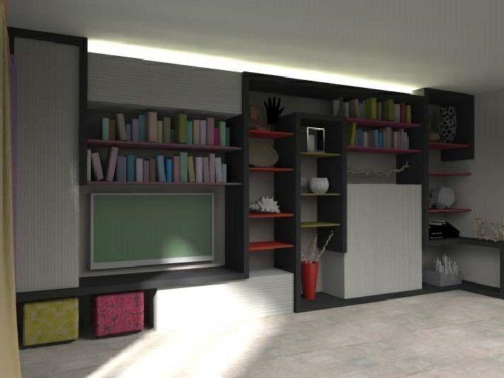 Disegno tecnico in 3d con rendering fotorealistico della parete attrezzata moderna