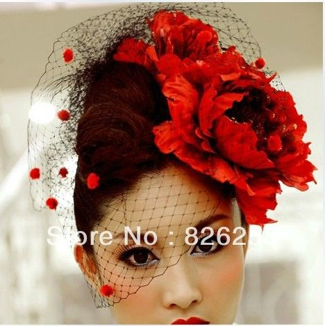 2013 Free Shipping Women Wedding Accessories Black Tulle with Red Flowers Bridal Wedding Hats Face Veil WH0010 $16.90