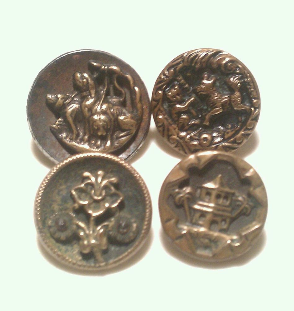 Lot of 4 Antique Metal Picture Buttons * Cat and Dog Floral Cut Steels etc..