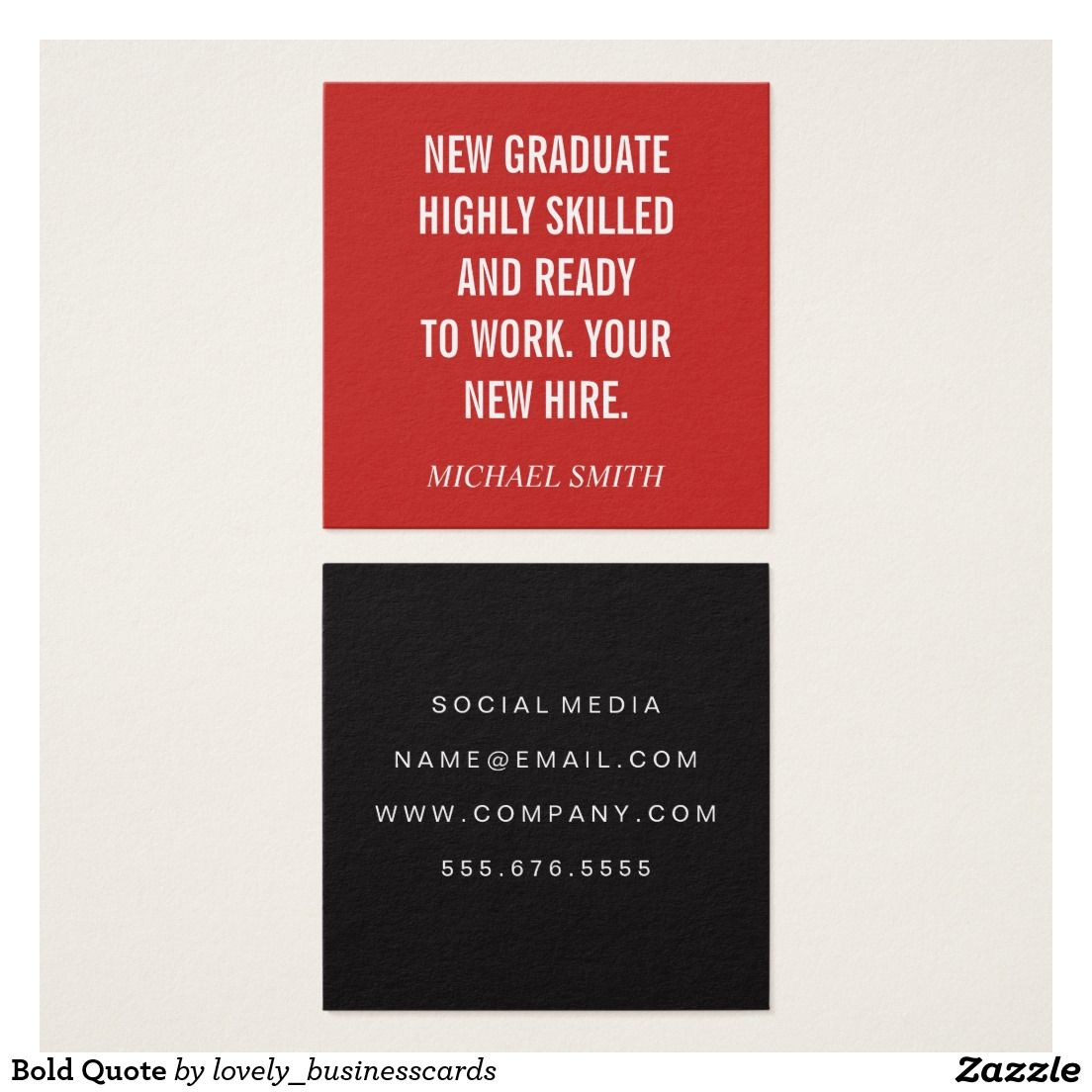 Bold Quote Square Business Card #graduate #newgraduate ...