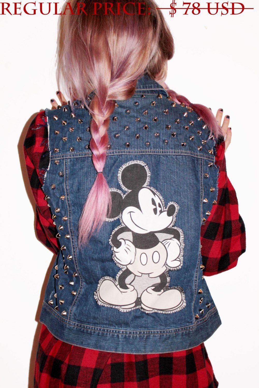SALE  Mickey Mouse Studded Denim Vest / by CherryUnderground, $58.00