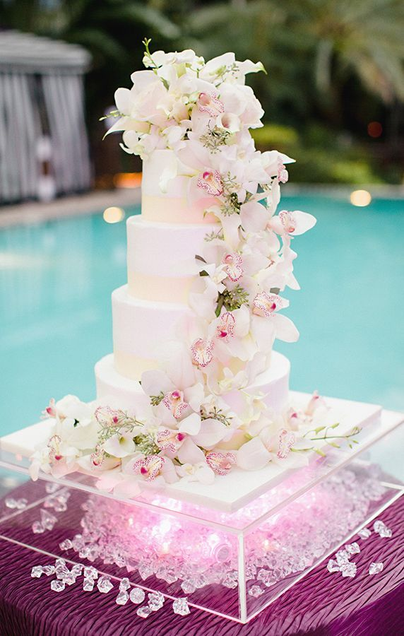 Amazing Cascading Orchids Wedding Cake