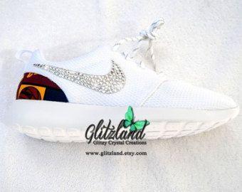 Items similar to Swarovski Nike White Roshe Run Cavalier Girls- Q Spirit  Squad Shoes w/ Cleveland Cavaliers Print Heel Blinged with SWAROVSKI®  Crystals on ...