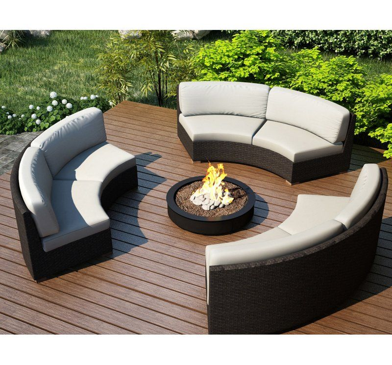 Hodge Patio Sectional With Sunbrella Cushions Unique Patio Furniture Conversation Set Patio Curved Patio