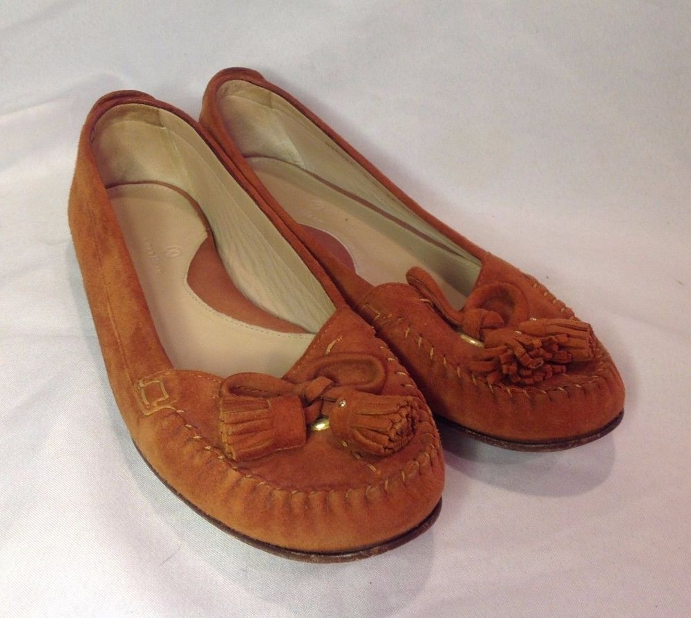 1b4c4c712ee COLE HAAN Burnt Orange Suede Flats Tassel Moccasin Loafer Shoes ...