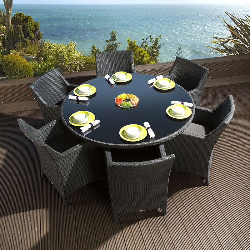 Rattan Garden Dining Set Round Table 6 Large Carver Chairs Black