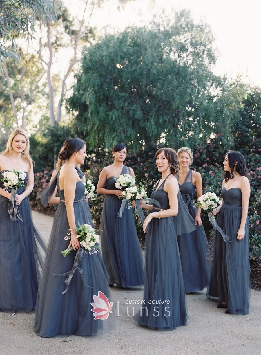 e4cf15db987b Multiway Ink Blue Tulle Floor Length A-line Bridesmaid Dresses in ...