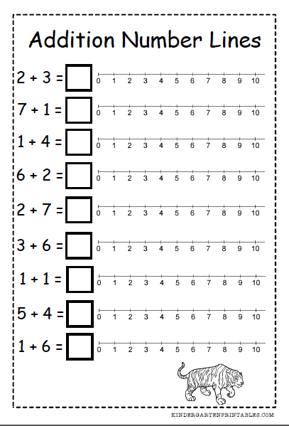 Number Line Addition Worksheets Free Printables Number