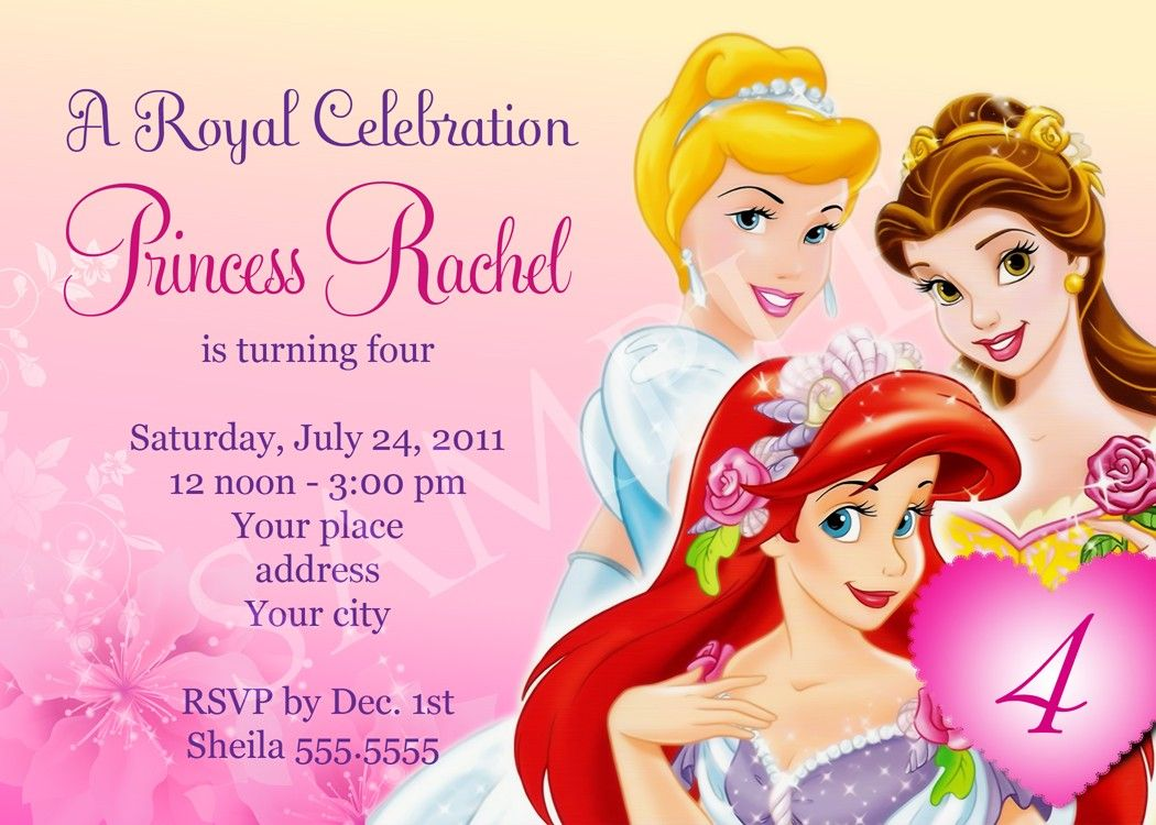 Princess Birthday Invitations Template Free Disney