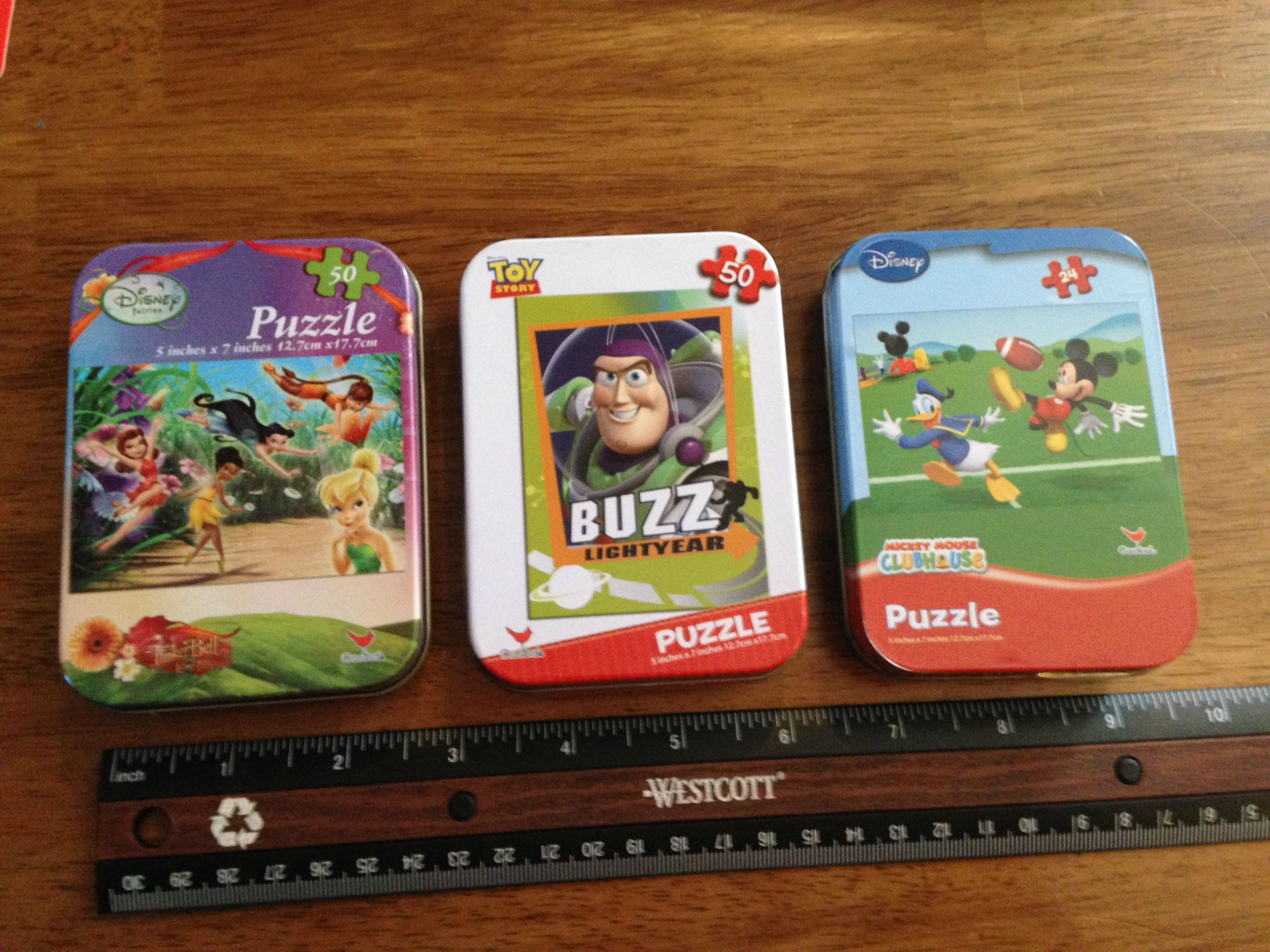 Bulk licensed character mini puzzles in tins at dollartree