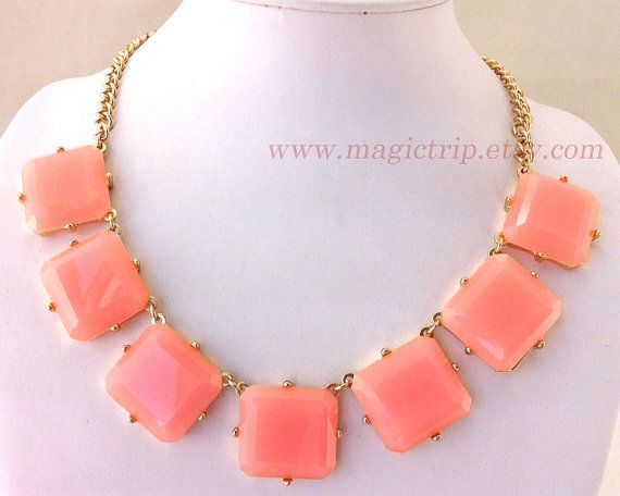 Bubble Necklace, baby pink Bubble Necklace, colored blocks, Bib Necklace, Resin Bubble on Etsy, $5.99