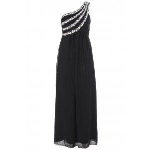 Quiz Womens Black One Draped Shoulder Midi Dress Party