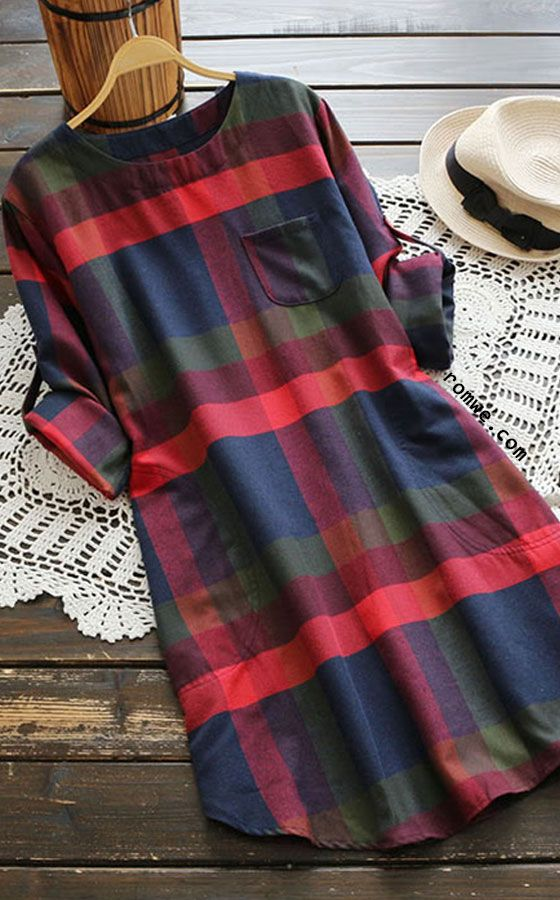 481cd03b91c Rolled Sleeve Checked Dress With Chest Pocket only NOT in this huge plaid  for me! Great tunic top though