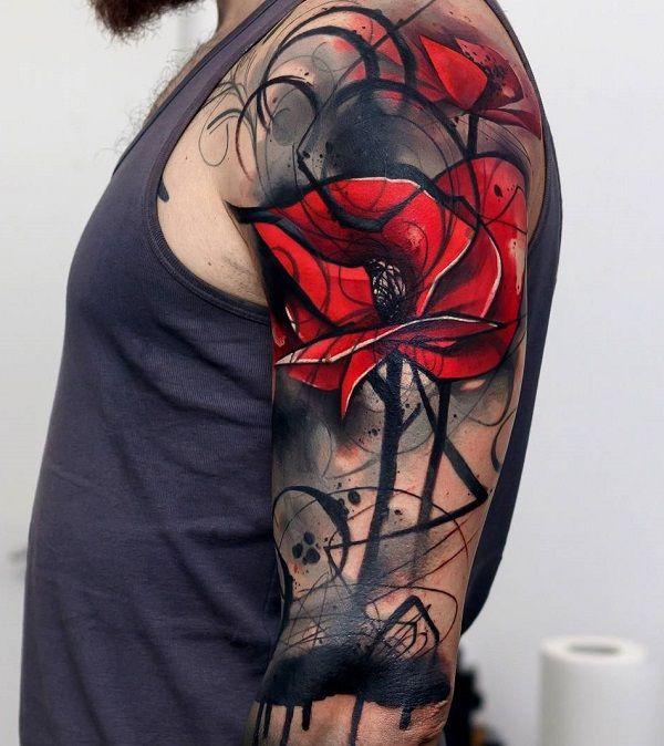 9c40b0771 60 Cool Sleeve Tattoo Designs   Tattoo Ideas ♡   Poppies tattoo ...