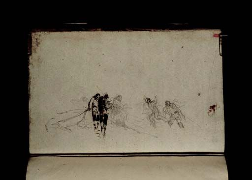 Joseph Mallord William Turner 'Fishermen on the Shore with a Line', 1801 (Enhanced image) - From Chester Sketchbook  -  Graphite on paper -  Dimensions Support: 161 x 256 mm -  Collection -  Tate
