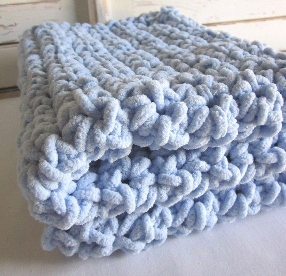 Super chunky crocheted baby blanket - BLUEBERRY for you ...