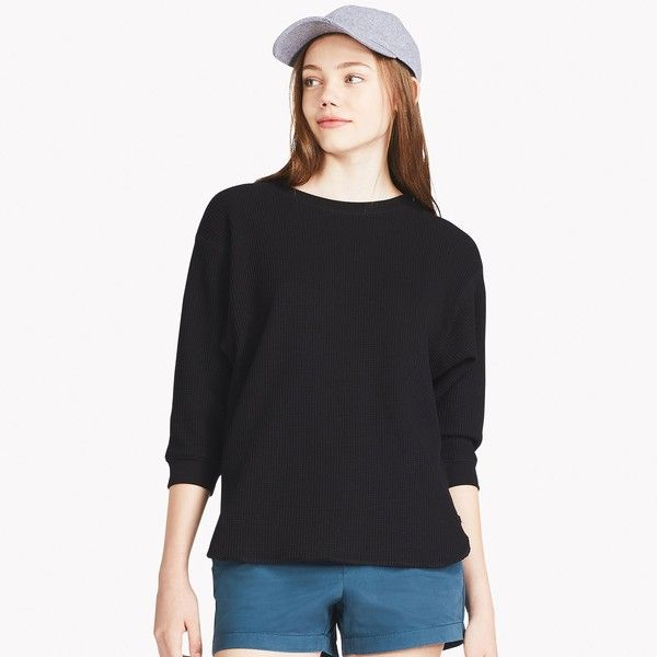 172c3e4907992 UNIQLO Women s Waffle Crew Neck 3 4 Sleeve T-Shirt ( 15) ❤ liked on  Polyvore featuring tops