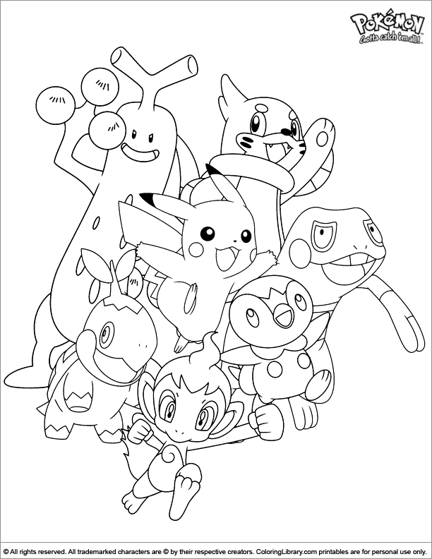 Photo of Pokemon coloring sheet