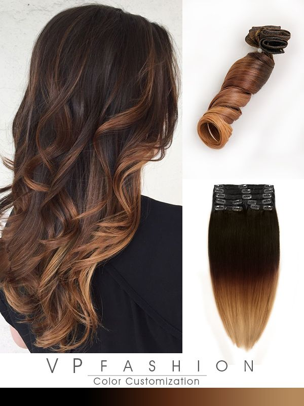 Caramel Brown Blonde Balayage Indian Remy Clip In Hair Extensions