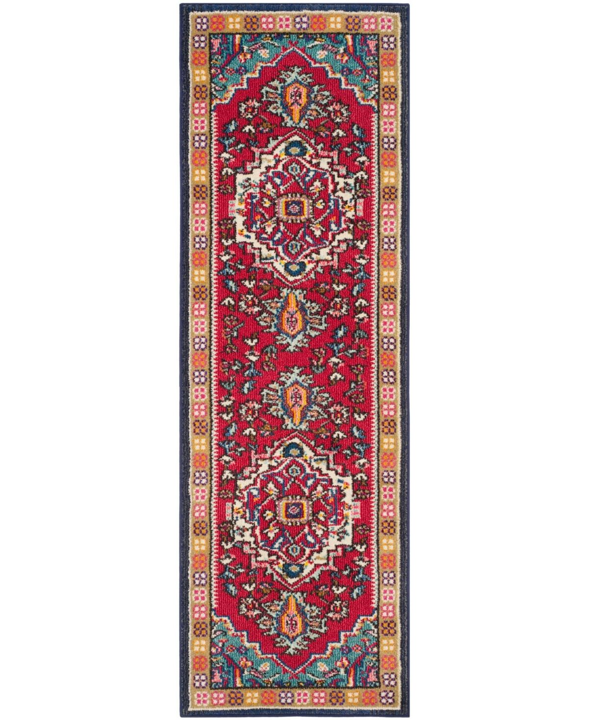 Safavieh Monaco Red And Turquoise 2 2 X 12 Runner Area Rug
