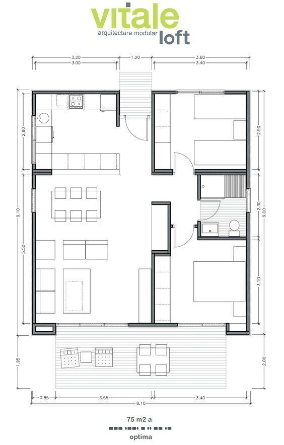 Casas prefabricadas modulares de hormig n modelo optima for Cocina plano arquitectonico