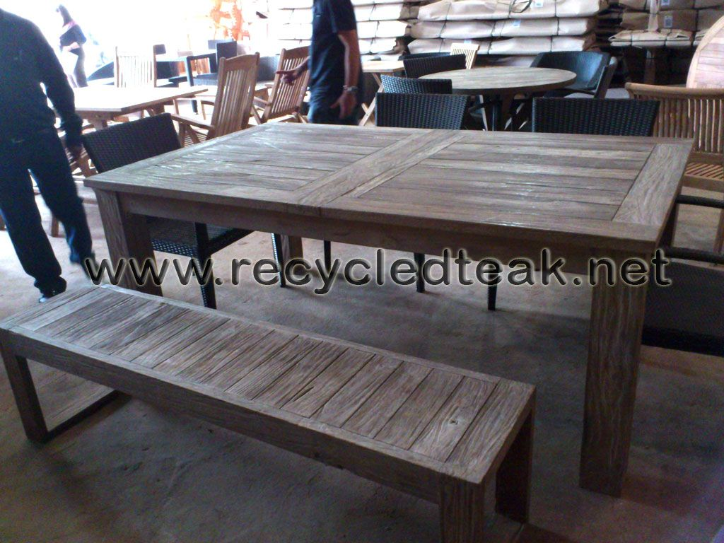 patio table and bench set rustic furniture recycled teak reclaimed rh pinterest com Convertible Patio Bench Table patio table bench seat