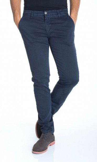 HAMAKI-HO | Pantaloni HAMAKI-HO Cotone Stretch Fashion Fit Col. Blu su Dursoboutique.com PS614H