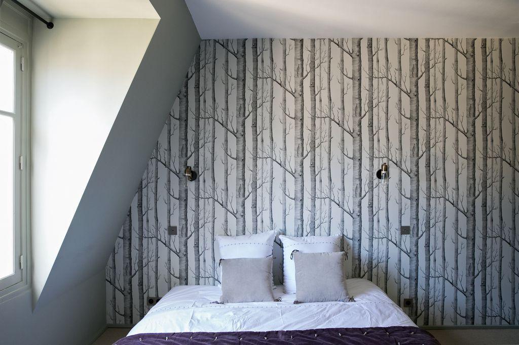 Chambre à coucher, tête de lit papier peint Appartement parisien de - papier peint pour chambre a coucher