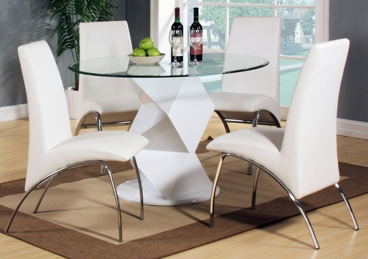 55 Round Dining Table And 4 Chairs Contemporary Modern