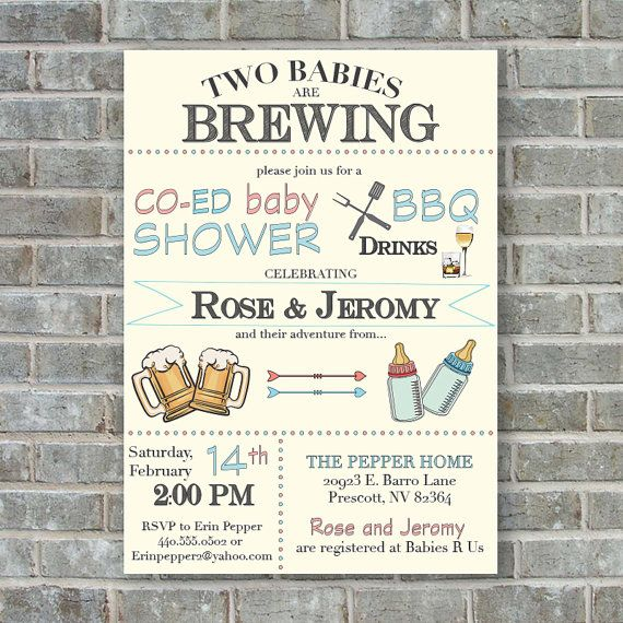 twins baby shower invitation two babies are brewing by poppinsink, Baby shower invitations