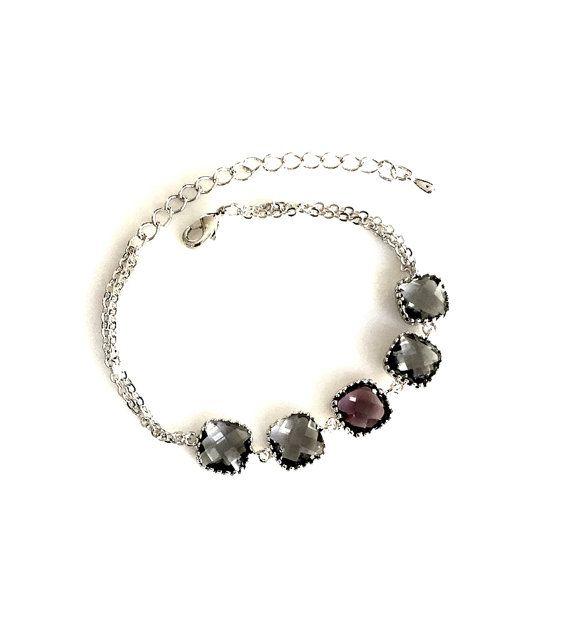 Purple earrings Gray drop Earrings Bridesmaid Gift by LaLaCrystal