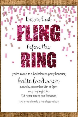 Final Fling Before The Ring Bachelorette Party Invite