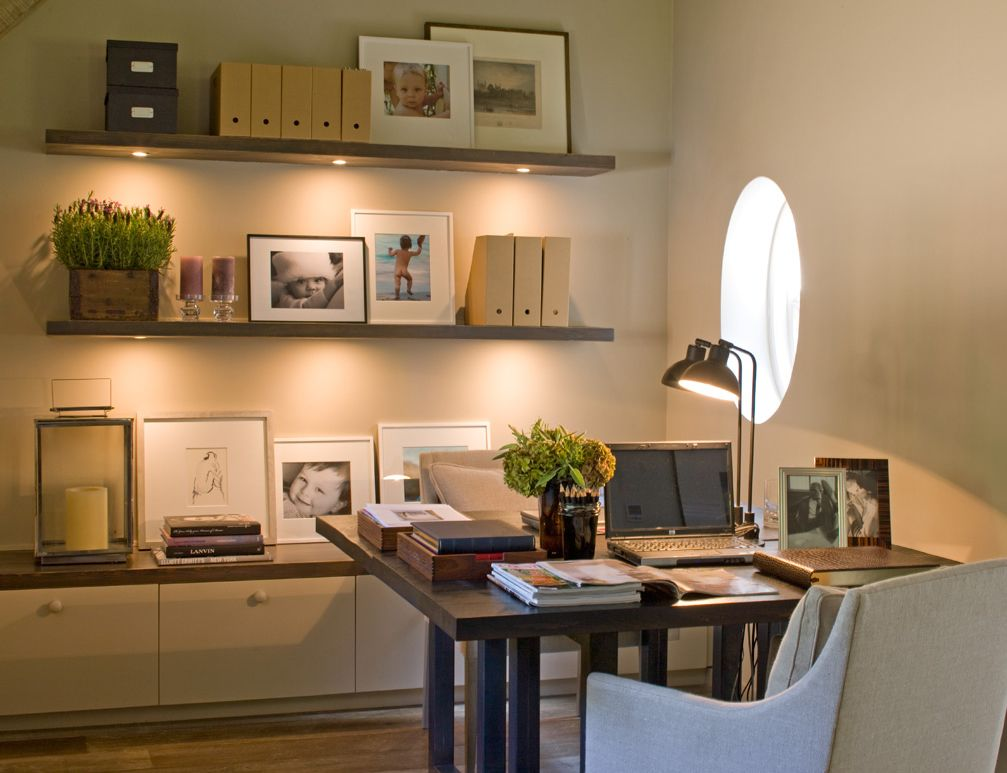 home office decorating ideas | round window | floating bookcases