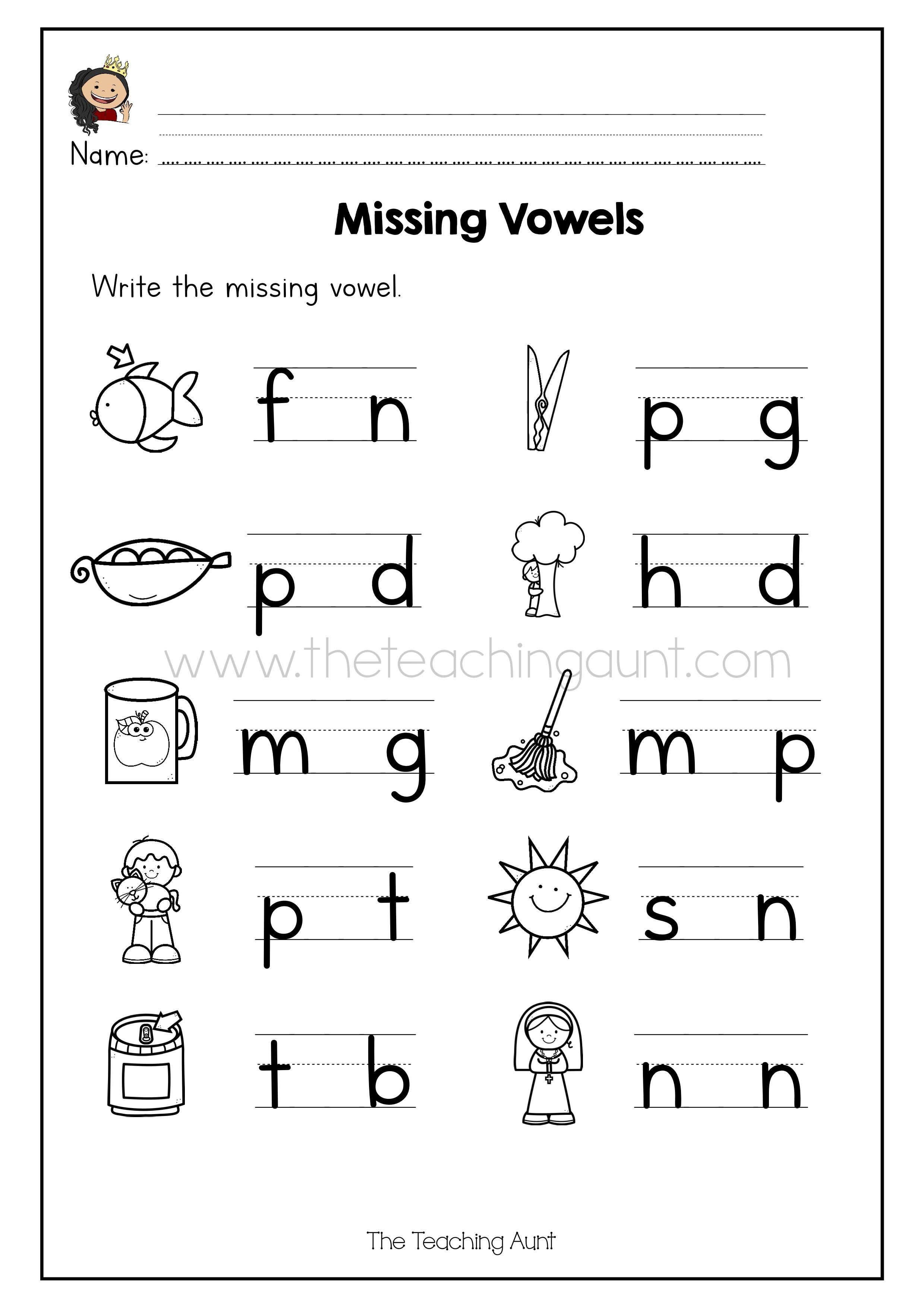 Missing Vowel Worksheets For Kindergarten The Teaching Aunt In 2020 Vowel Worksheets Cvc Words Worksheets Kindergarten Worksheets