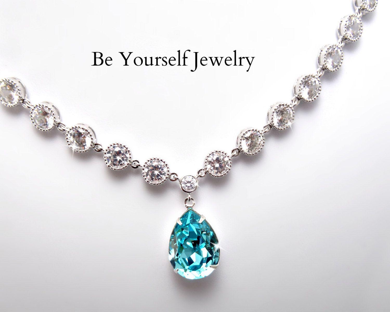 Teal Blue Bridal Necklace Sea Green Teardrop Bride