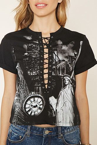 New York Graphic Lace-Up Top