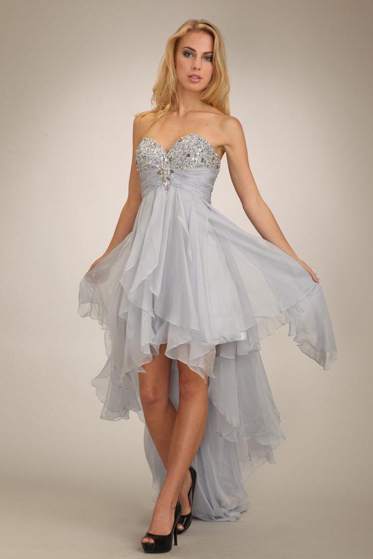 High Low Beaded Chiffon Gray Prom Dress | Prom Dresses | Pinterest ...