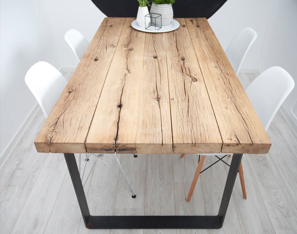 Geschaafde eiken wagonplanken. Reclaimed oak table top en ...
