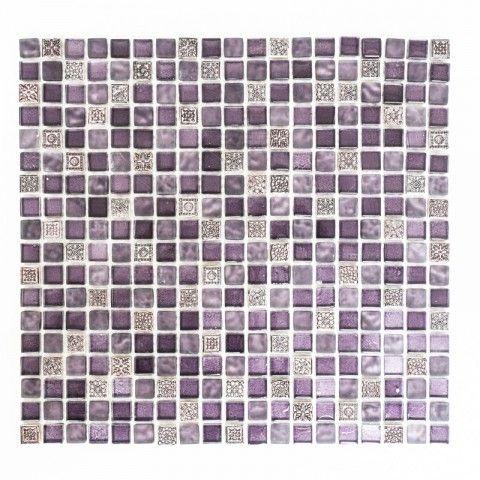 MIXMOSAIK 1,5X1,5 CM GLAS/MARMOR LILA   Mixmosaik   Mosaik