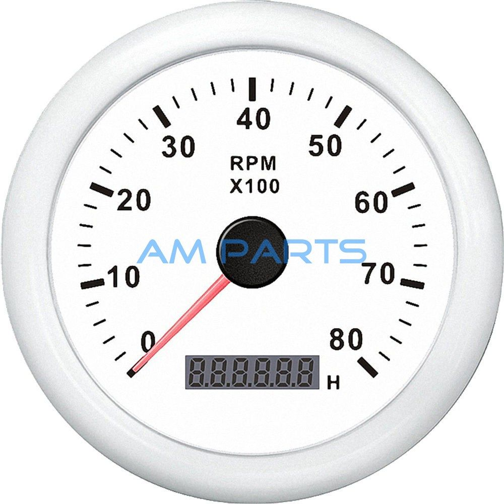 hight resolution of kus boat engine rpm meter lcd hourmeter tacho gauge white 12v 24v 8000rpm