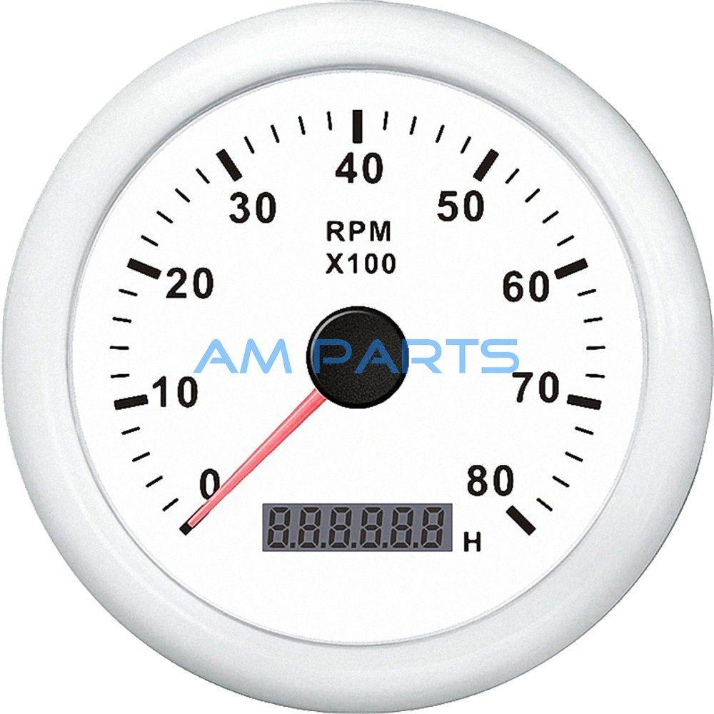 kus boat engine rpm meter lcd hourmeter tacho gauge white 12v 24v 8000rpm [ 1000 x 1000 Pixel ]