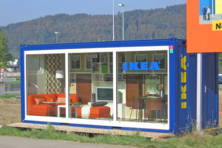 Modern Creative Modern Tiny House Design Shipping Container House With Glass Transparent Design By Ikea With Blue Coloring And Wonderful Various Furniture