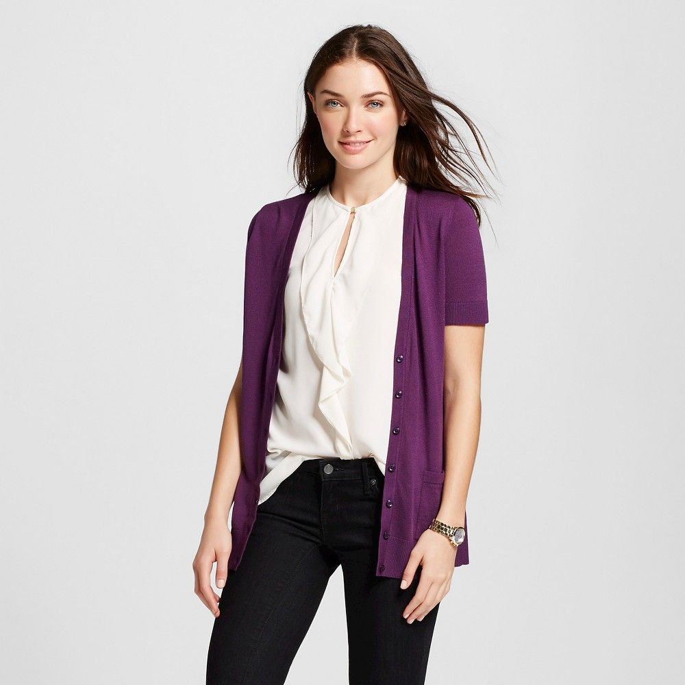Women's Short Sleeve V-Neck Jersey Cardigan Violet (Purple) S ...