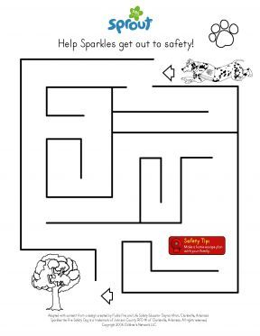 Fire Safety Maze Coloring Page