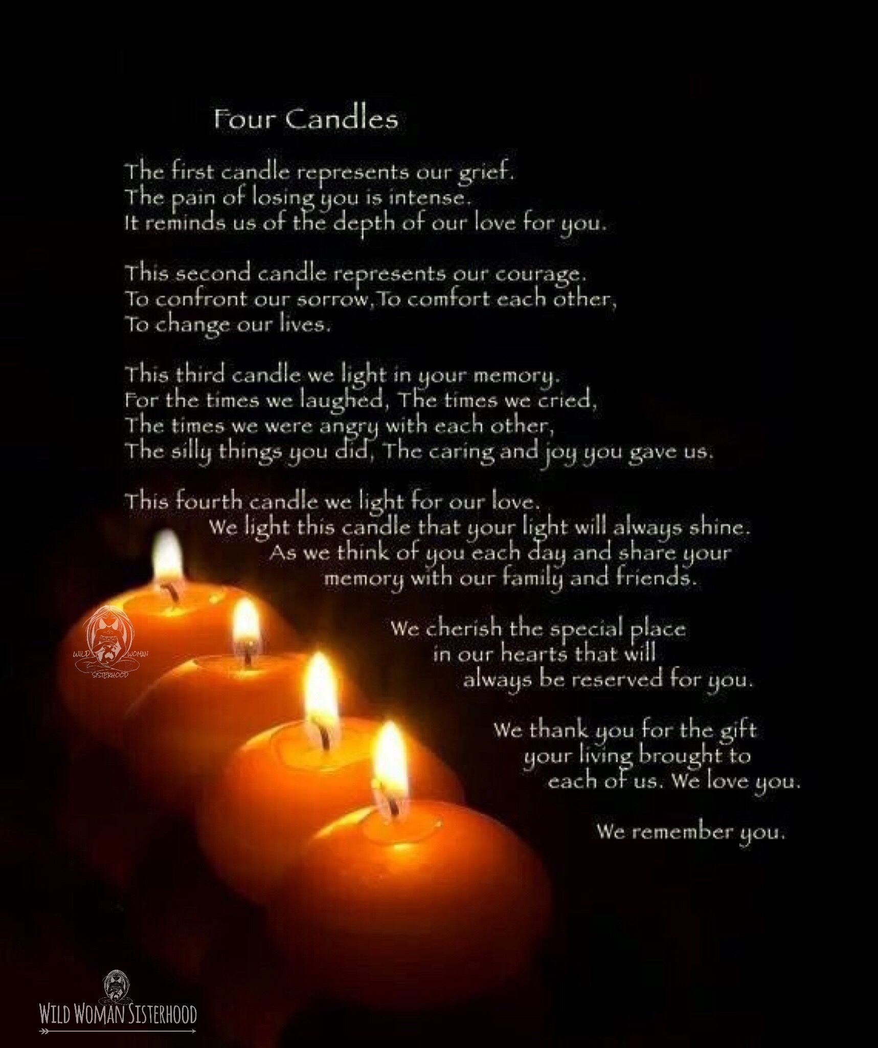Losing A Loved One To Cancer Quotes Remembrance Or Four Candles Rituala Simple Yet Powerful To