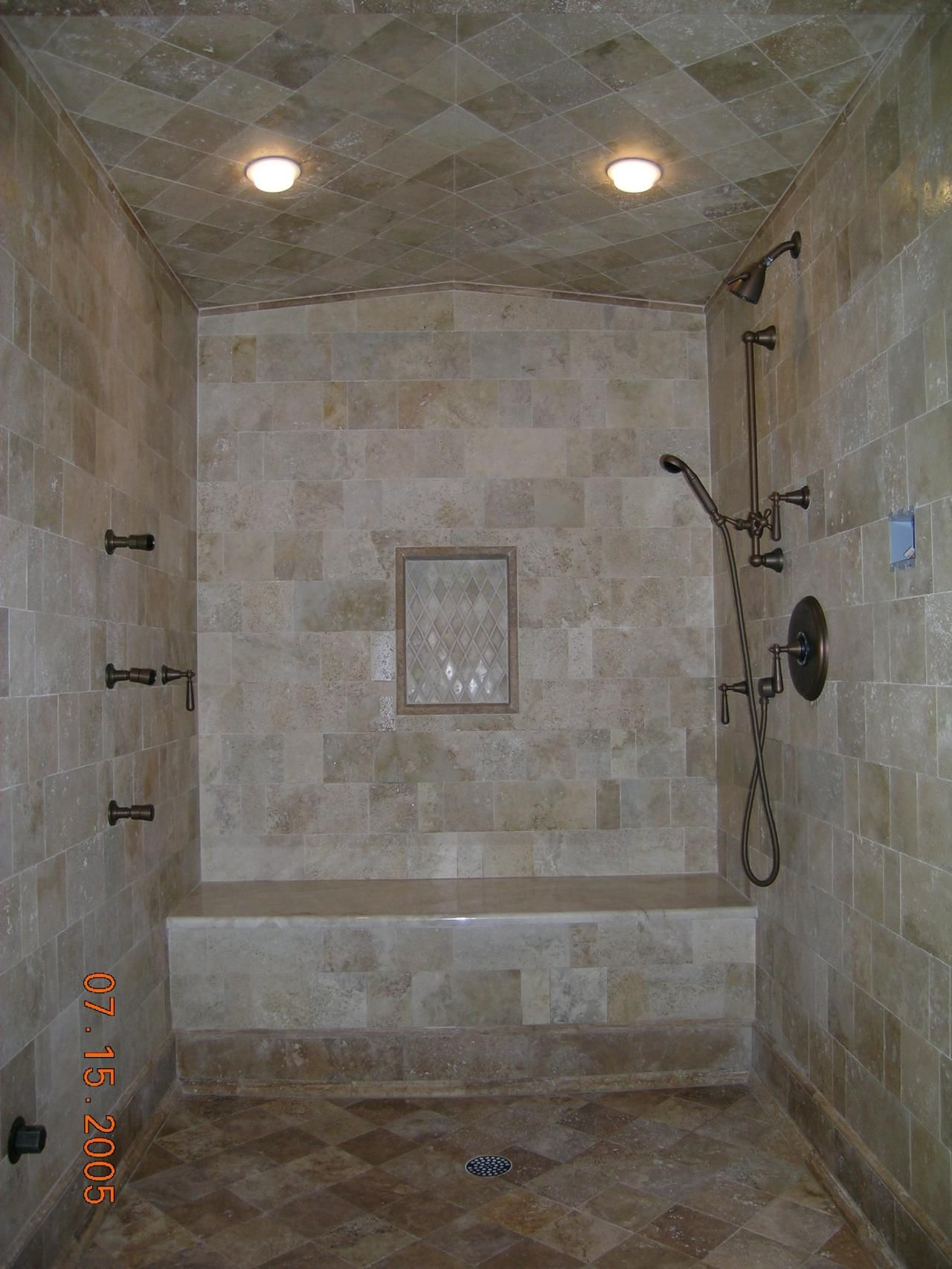 shower tile images | Antiqued marble steam shower with diagonal ...